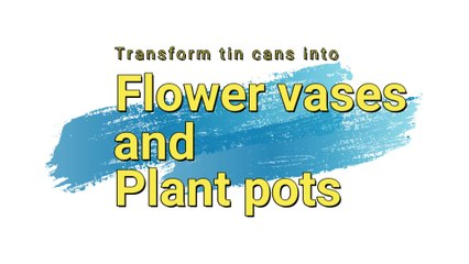 Transform tin cans into vases and flower pots