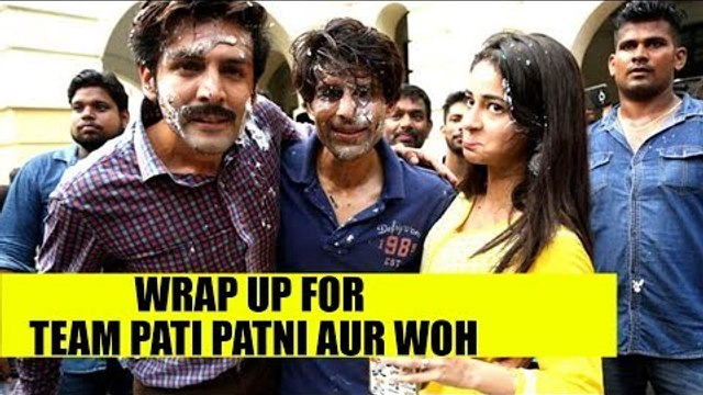 Kartik Aryan and Ananya Panday cut the cake as they wrap up shoot for Team Pati Patni Aur Woh