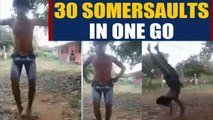Young boy performs 30 somersaults at a time, video goes viral