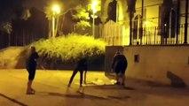Constitucionalistas retiran pancartas a favor de los golpistas encarcelados de noche y con la cara descubierta