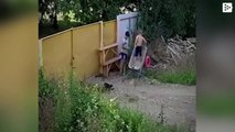 Two stubborn Russian kids manage to steal a wheelbarrow