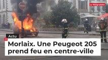 Morlaix. Une femme s'échappe de sa voiture en feu