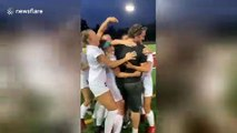 Pink card?! Hilarious moment grumpy college soccer coach fooled by genius gender reveal