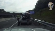 Watch: U-Haul Truck Nearly Strikes Trooper Who Was Changing Tire On Disabled Vehicle