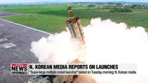 N. Korean media reports N. Korea's launch of projectiles on Tuesday