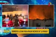 La Victoria: bomberos luchan para controlar incendio que consume mercado minorista