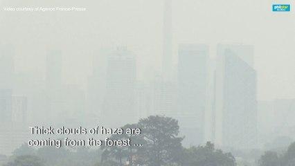 Thick smog shround Kuala Lumpur's skyline
