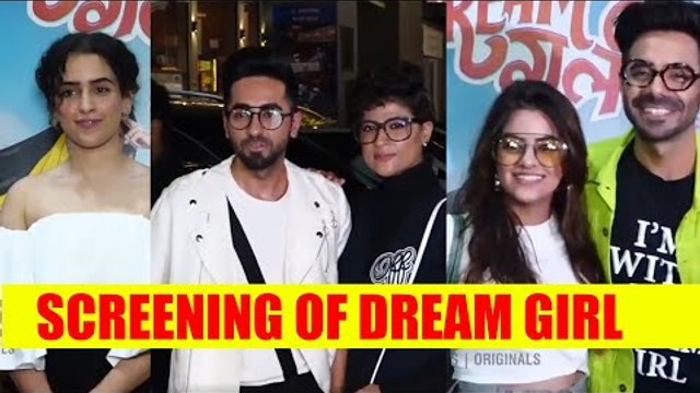 Ayushmann Khurrana with wife Tahira Kashyap attend the screening of Dream Girl