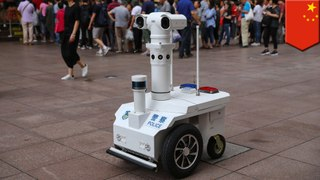 Cute robot police officer now patrols Shanghai's Nanjing Road