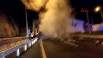 Ordu-tünelde devrilen kamyon yandı; sürücü canını zor kurtardı