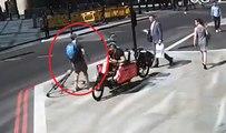 Un cycliste se venge contre un piéton alors qu'il était en tort !