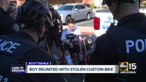 Boy reunited with stolen custom bike