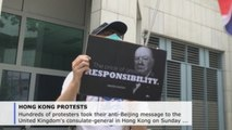 Hundreds of protesters urge the UK to back democratic struggle in Hong Kong
