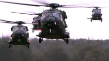 NH90, CH-47 Chinook, AH-64 Apache Helicopters Flight Operations in Close Formation