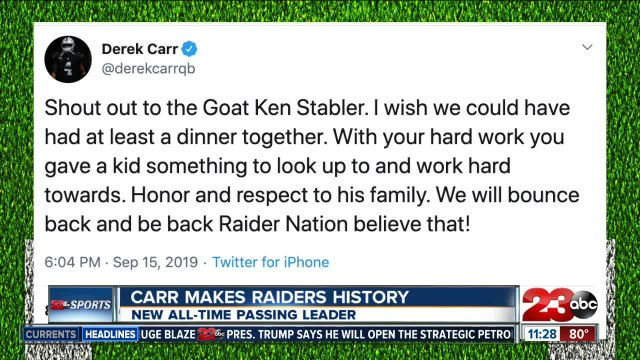 Carr tweets about passing Ken Stabler's record
