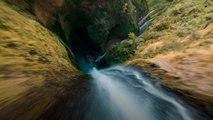 Den Wasserfall hinunter: Atemberaubendes Drohnenvideo
