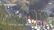 TEM'de araç yangını: Trafik yoğunluğu yaşanıyor