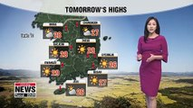 High temperatures expected to ease into the week