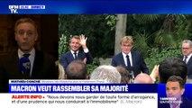 Emmanuel Macron est en train de prononcer un discours pour rassembler sa majorité