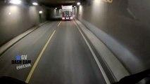 Un cycliste tout près de sa faire écraser par un camion dans un tunnel en Norvège