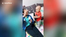 Chinese teenager tricks her greedy younger brother into eating healthy food