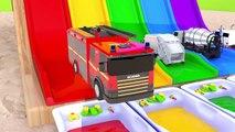 Learn Colors With Street Vehicle Water Slide for kids Nursery Rhymes