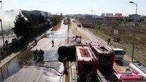 Tuzla'da patlayan yakıt tankı ve oluşturduğu hasar havadan görüntülendi