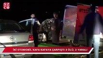 İki otomobil kafa kafaya çarpıştı 3 ölü, 2 yaralı