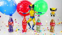 Learn Colors with Coca Cola bottles Surprise Balloon Beads and wrong heads Dancing Pikachu