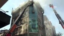 Kağıthane'de 6 katlı binanın çatı katında yangın çıktı