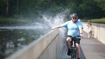 You can cycle through water in Limburg, Belgium