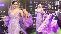 Deepika Padukone's Funny Entry In Huge Purple Dress At  IIFA 2019