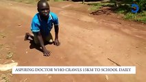 Aspiring doctor who crawls 1.5KM to school everyday