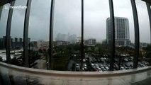 Time-lapse footage of Tropical Depression Imelda sweeping through downtown Houston