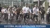 Uji Coba Jalur Sepeda Fase Pertama di Jakarta