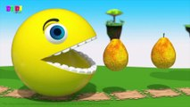 Pacman Fun Play on Desert Island, Eats Fruits and slides down a Magic Wood Slide