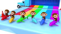 Learn Colors Baby Monkey Shark Water Slide Wheels On The Bus Song for Kid Children