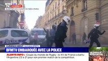 Les équipes de la Brav, la brigade de répression de l'action violente, sont mobilisées dans le quartier des Champs-Élysées