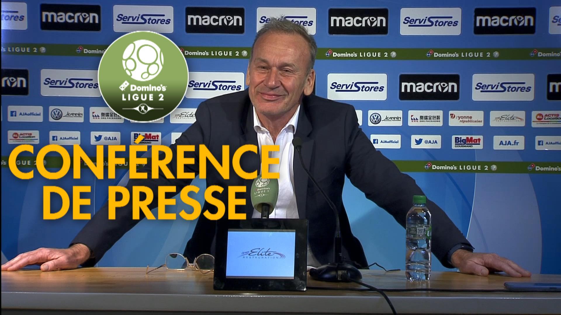 Conférence de presse AJ Auxerre - ESTAC Troyes (1-2) : Jean-Marc FURLAN (AJA) - Laurent BATLLES (ESTAC) - 2019/2020