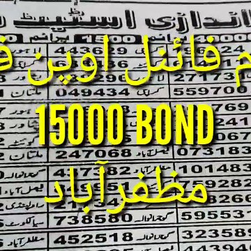 Prize bond first open figure formula Muzafraabad City 15,000