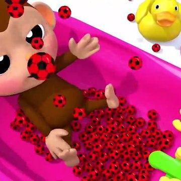 Learn Colors Little Baby Monkey Soccer Ball Finger Family Song for Kid Children