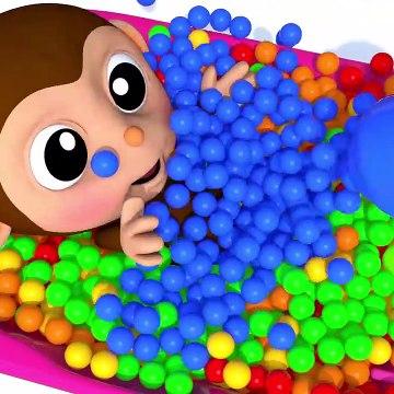 Learn Colors Baby Monkey Baby Bottle Finger Family Song for Kid Children