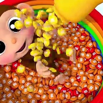 Learn Colors Little Baby Monkey Bath Time M&M Chocolate Finger Song for Kid Children