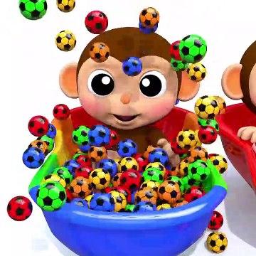 Learn Colors Baby Monkey Soccer Ball Bath Time Finger Family Song for Kid Children