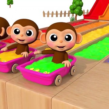 Learn Colors with Baby Monkey Water Slide Bath Time Wheels On The Bus Song for Kid Children