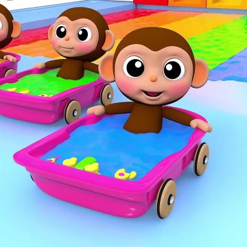 Learn Colors with Baby Monkey Water Slide Bath Time Johny Johny Yes Papa Song for Kid Children