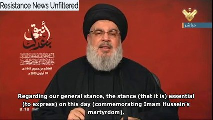 Nasrallah: Any War against Iran would mean the End of Israel & US Hegemony, Khamenei is our Imam Hussein