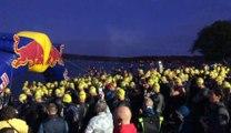 Le départ du triathlon Ironlakes aux Lacs de l'Eau d'Heure