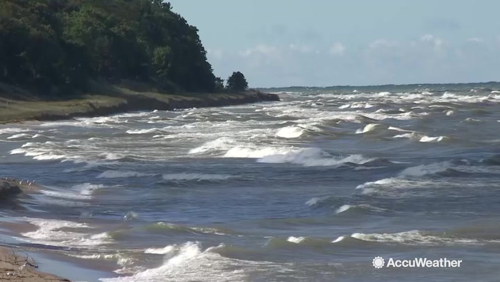 Rough surf from Lake Michigan hit shore during first day of fall