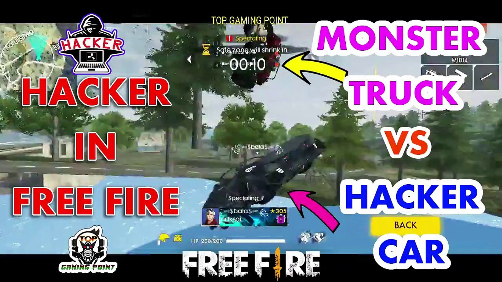 MONSTER TRUCK VS HACKER CAR (HACKER IN FREE FIRE ) || TOP GAMING POINT || TgpYT